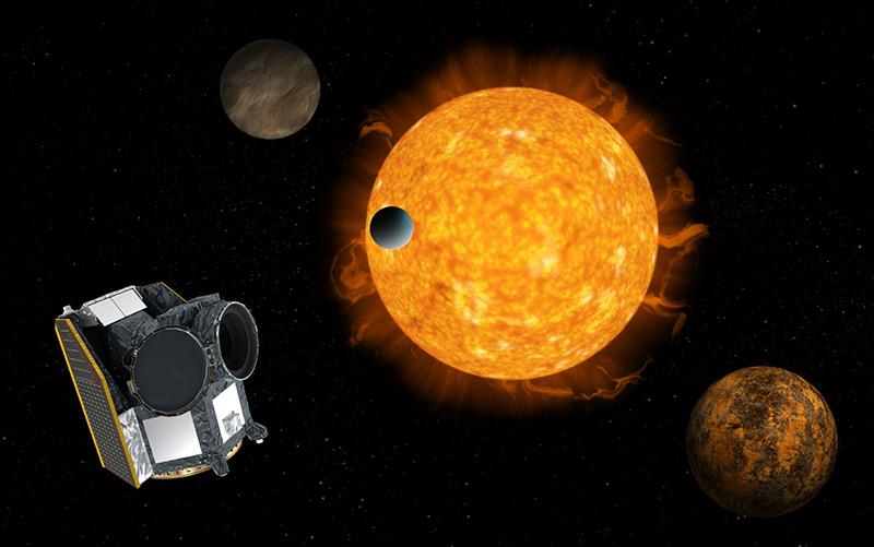 Künstlerische Illustration mit dem Transit eines Exoplaneten vor seinem Zentralgestirn