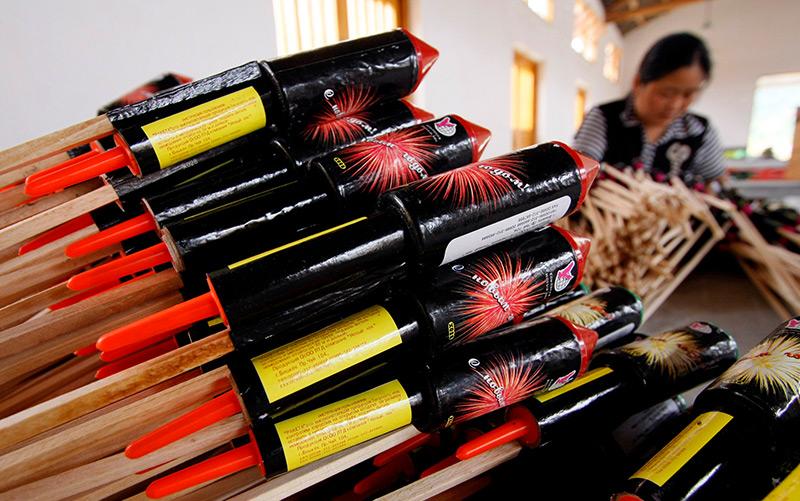 Feuerwerkfabrik in der chinesischen Provinz Hunan