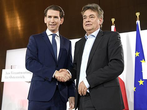ÖVP-Chef Sebastian Kurz und Grünen-Chef Werner Kogler