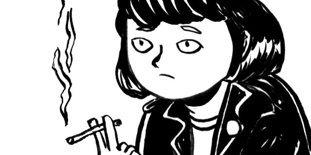 Selbstporträt der Comic-Autorin, wie sie raucht