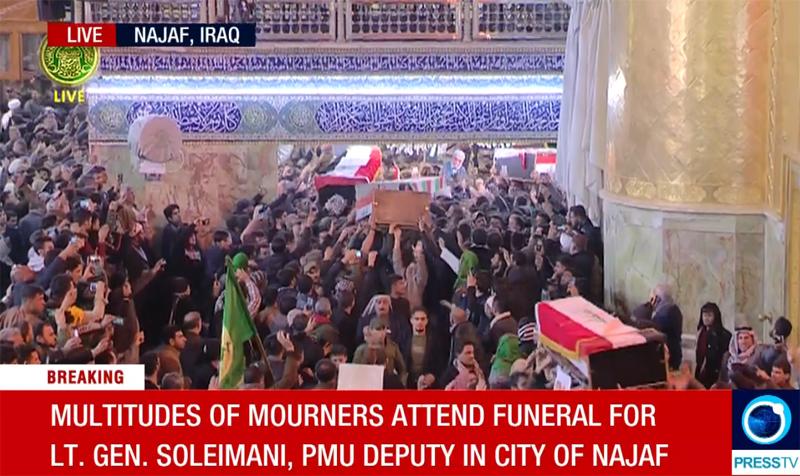Begräbnis des Kommandeurs der iranischen Al-Kuds-Brigaden, General Kassam Soleimani