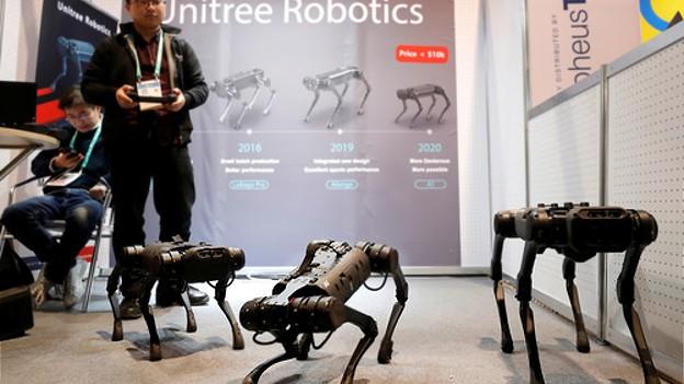 Li Chen von Unitree Robotics mit Animalischen Roboter bei der 2020 CES in Las Vegas