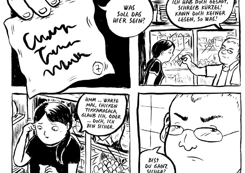 Seite im Comic: Szene in einem Restaurant, Dialog zwischen Kellnerin und Koch oder Chef