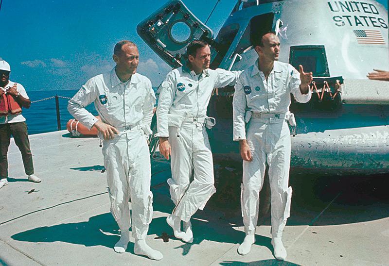 Aufnahme aus dem Jahr 1969: die Crew der Apollo 11
