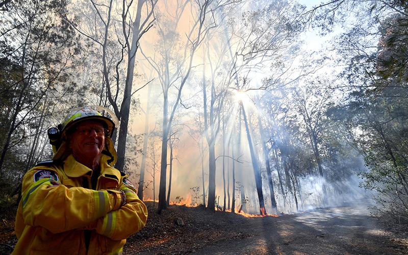 Feuerwehrmann in einem Wald rund um die Stadt Port Macquarie