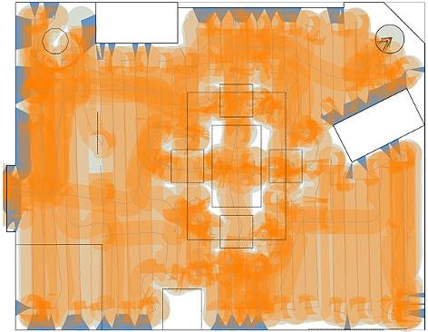 """Streckenlaufbild des Putzroboters """"Deebot Ozmo 930"""" von Ecovacs"""