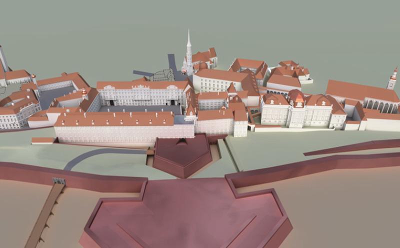 Rekonstruktion der Hofburg im Zustand von 1740