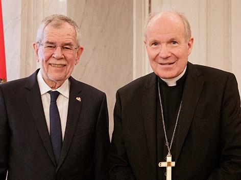 Bundespräsident Alexander Van der Bellen und Kardinal Christoph Schönborn