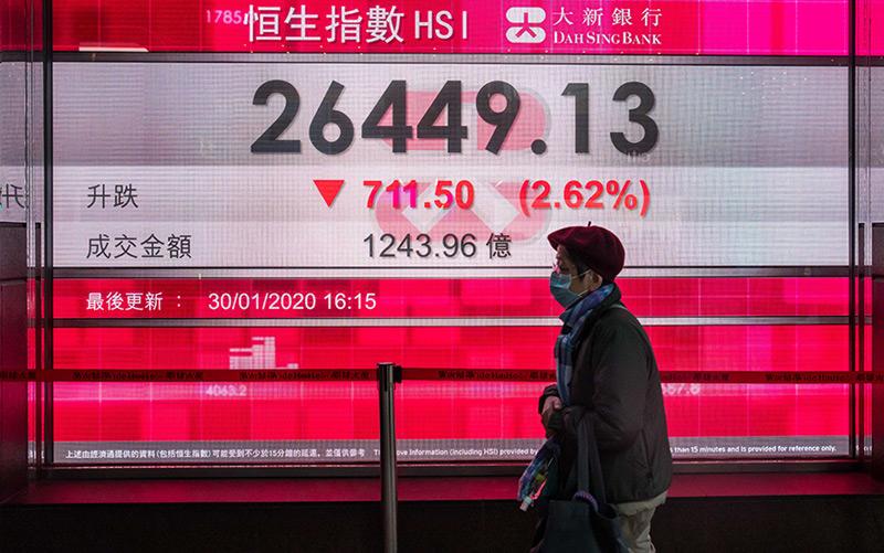 Der Börsenindex in Hongkong ist infolge der Epidemie zuletzt deutlich gesunken