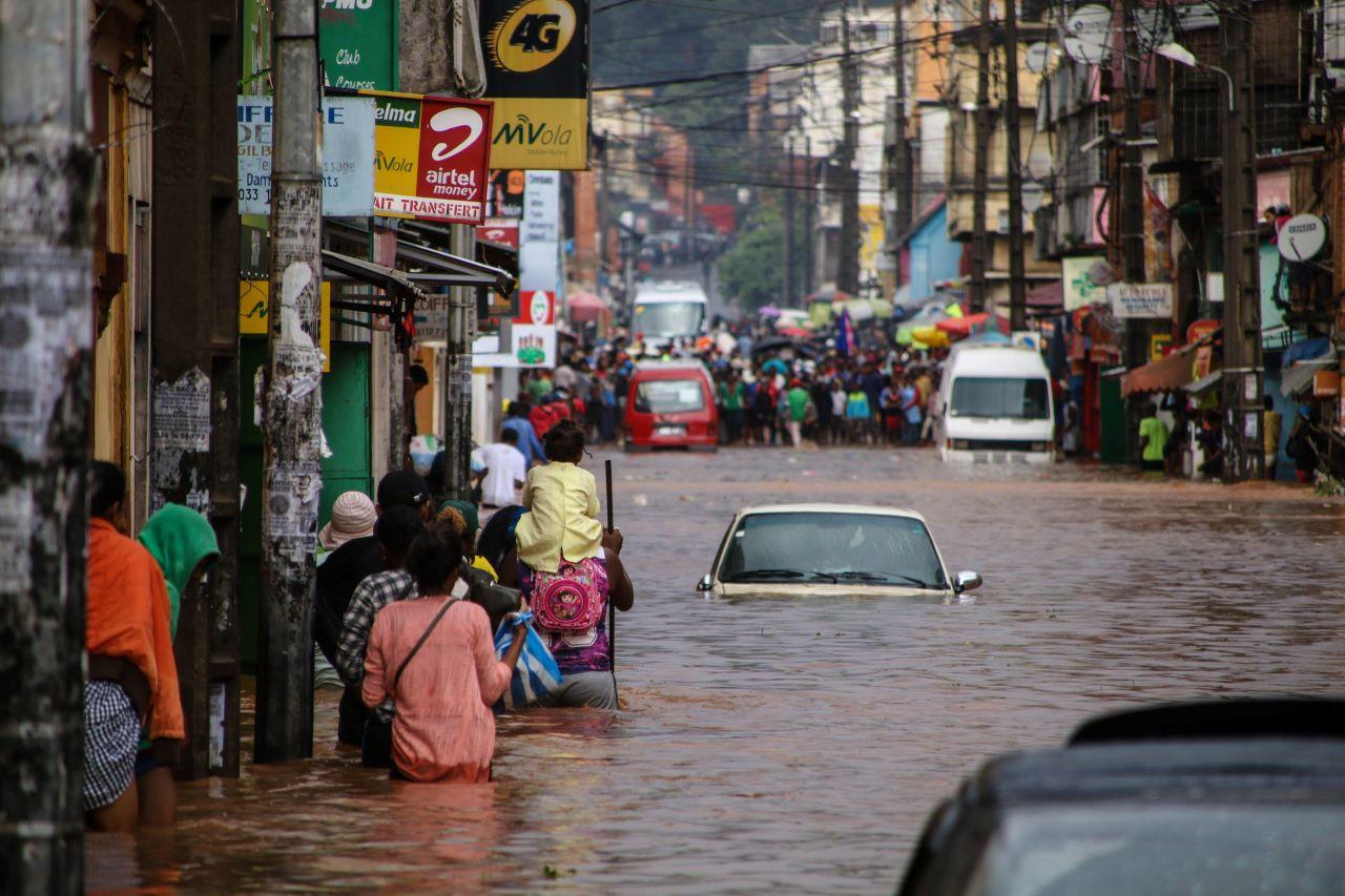 Überflutungen in Antananarivo in Madagaskar im Jänner 2020