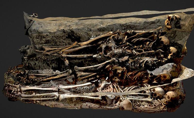 Grabungen im Elisabethinen-Kloster: 3D-Rekonstruktion einer Grabstätte mit sechs aufeinanderfolgenden Bestattungen