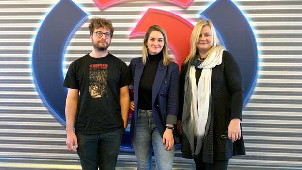 Gabi Hiller mit Severin Fiala und Veronika Franz