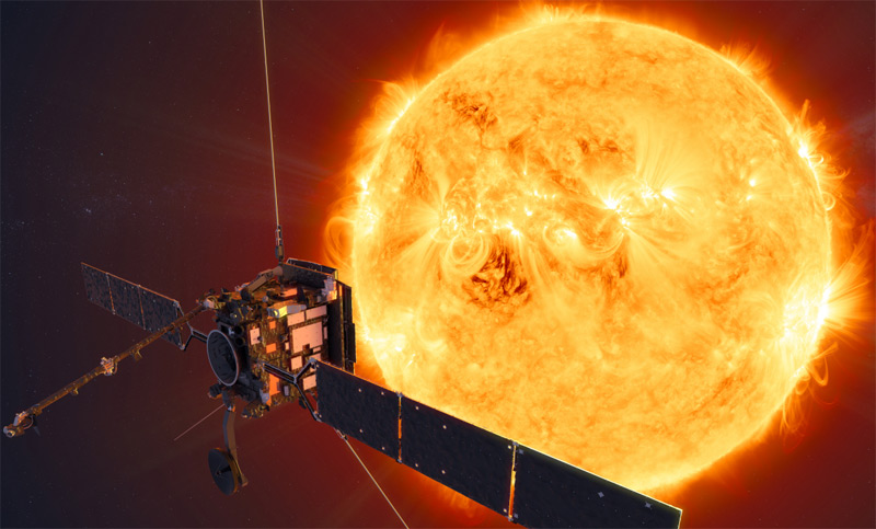 """Künstlerische Darstellung des """"Solar Orbiter"""" und der Sonne"""