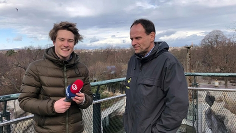 Ö3-Reporter Raphael Trkmic im Interview mit dem Zoologen Toni Weissenbacher vor dem Eisbärengehäge in Schönbrunn