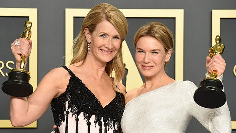 """Beste Schauspielerinnen: Laura Dern mit ihrem Oscar für """"Marriage Story"""", Renee Zellweger hat den Oscar für """"Judy"""" abgeräumt."""