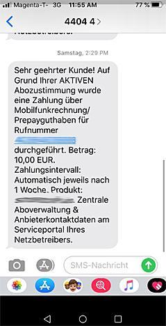 Screenshot einer SMS-Mitteilung eines Abofallen-Betreibers