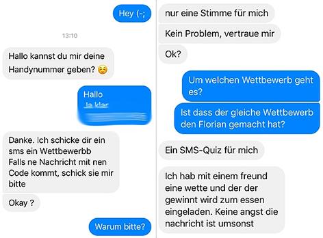 Screenshot eines Chats mit einem Abofallen-Kriminellen