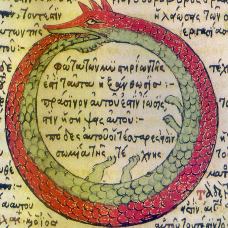Ouroboros: Illustration einer Schlange, die sich in den Schwanz beißt