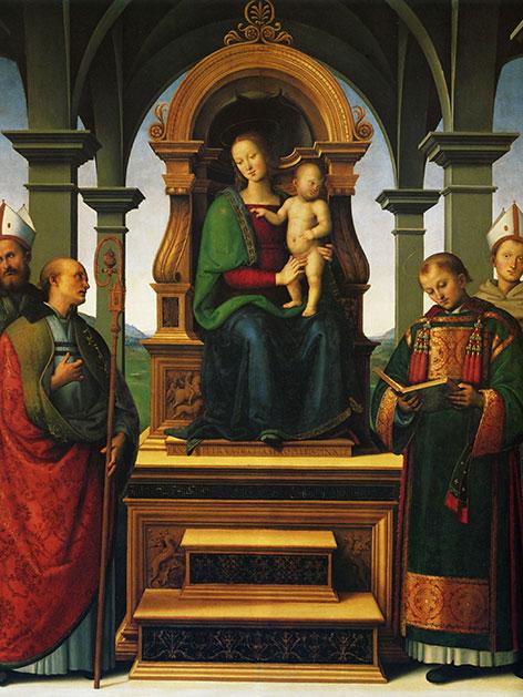 """Peruginos """"Madonna mit Kind und die Heiligen Lorenz, Ludwig von Toulouse, Herkulan und Konstanz"""" von 1495."""