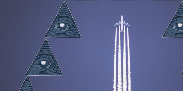Collage zum Thema Verschwörungstheorien: Flugzeug mit Kondensstreifen und allsehende Augen