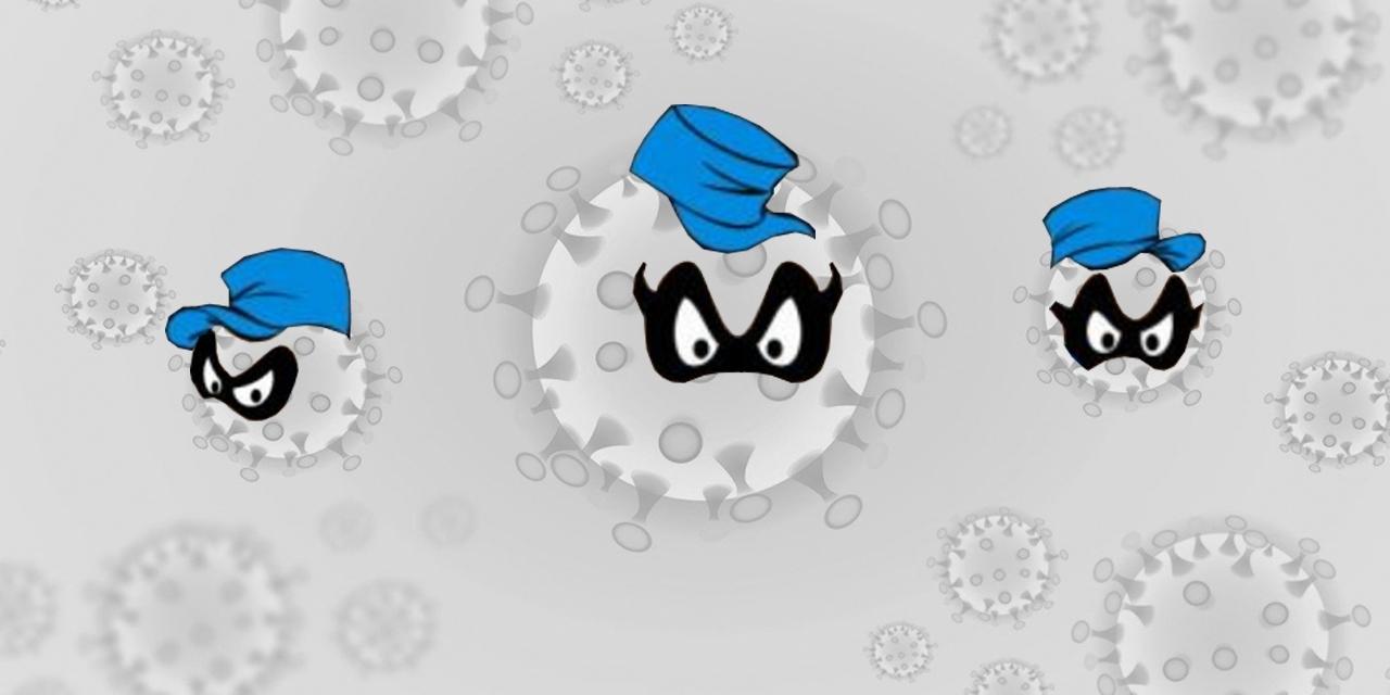 Coronaviren mit Panzerknackermasken