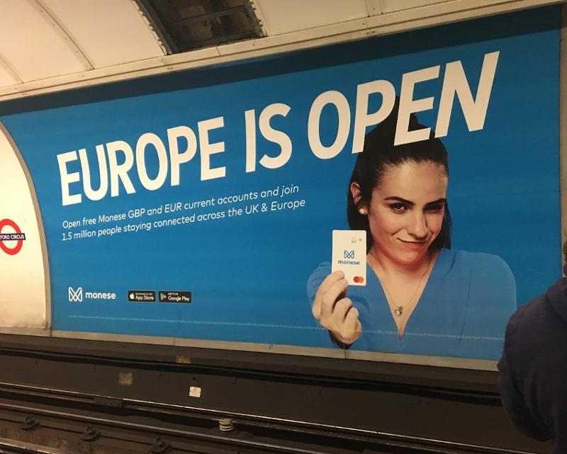 "Plakat in der Londoner Undeground: ""Europe is open"""