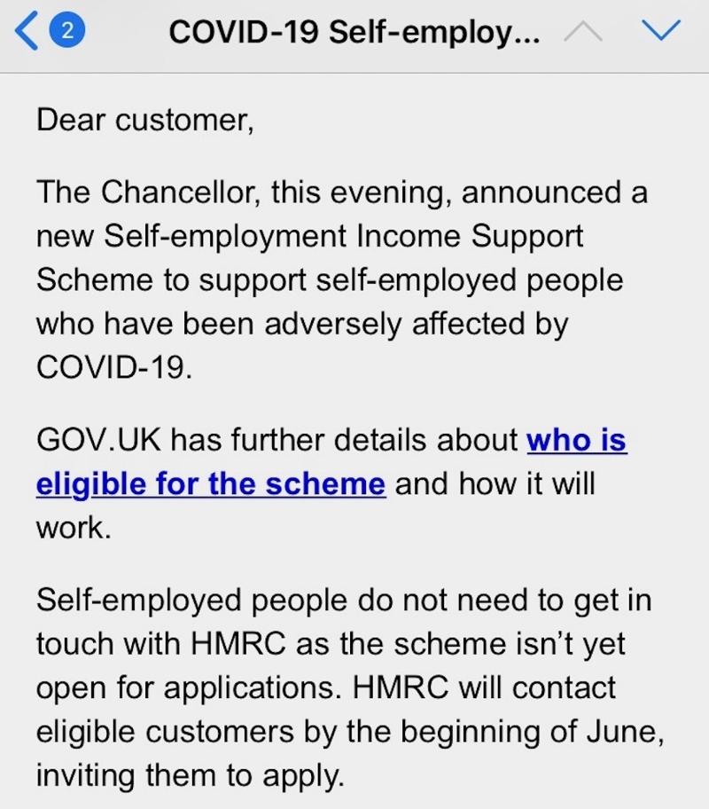 Screenshot Email vom britischen Finanzamt