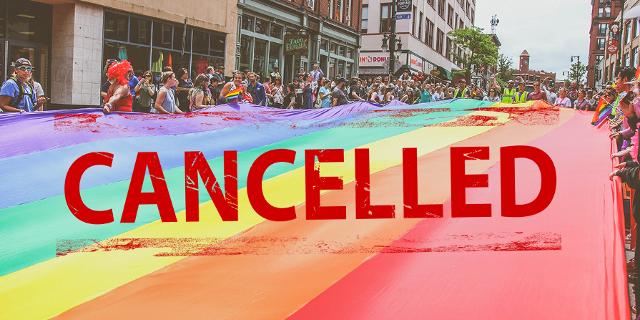 """Pride-Parade, darüber eine Stempel: """"Cancelled"""""""