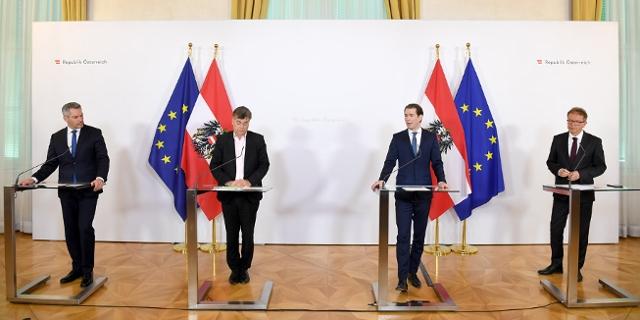 Pressekonferenz der Regierung mit Anschober, Kurz, Nehammer und Kogler