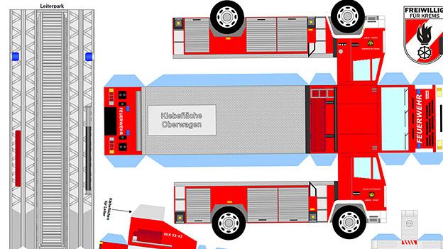 Bastelvorlage für ein Feuerwehrauto