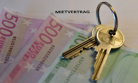 Mietvertrag, Wohnungsschlüssel, Eurobanknoten