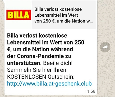 Billa-Fake-Gewinnspiel Gutschein