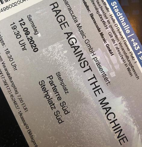 """Konzertkarte """"Rage Against The Machine"""""""