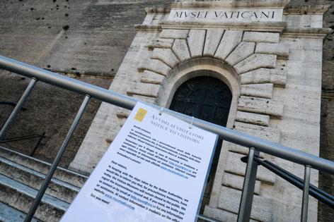 Eingang zu den Vatikanischen Museen während der Coronavirus-Krise