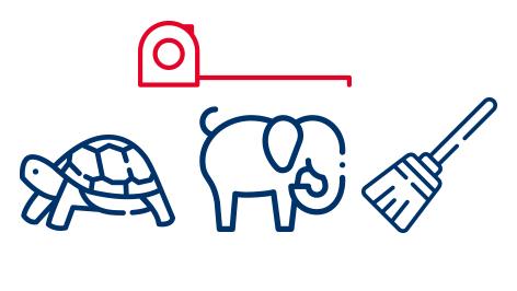 Babyelefant Schildkröte Besen Massband