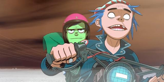 "Stuart ""2D"" Pot und Murdoc Niccals auf dem Motorrad"