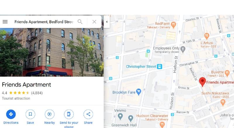 Friends Apartment auf Google Maps