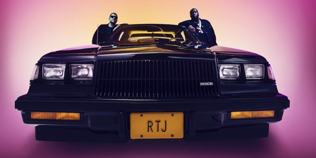 "Ein Auto mit Killer Mike und El-P, Cover von Run the Jewels Single ""Ohh LA LA"""