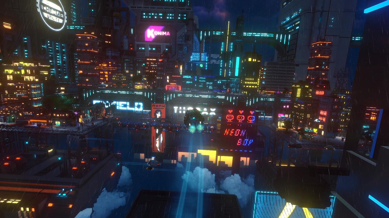 "Bildschirmfoto aus dem Computerspiel ""Cloudpunk"""