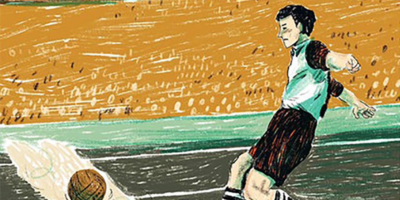 Zeichnung von Ossi Rohr, wie er gerade einen Fußball schießt