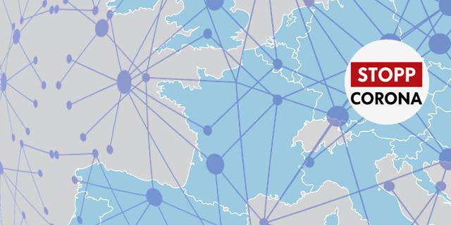 Europakarte mit dem Logo der Stopp Corona App in der Mitte