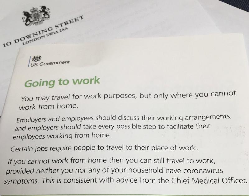 Going to Work - Beiblatt zum Brief Boris Johnsons an alle britischen Haushalte