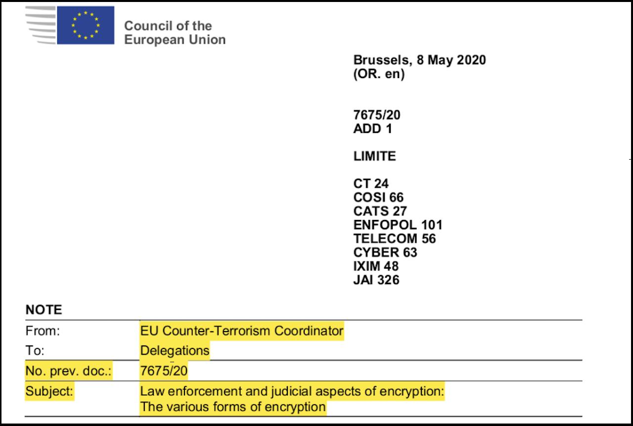 EU-Ministerrat Dokumente zur Verschlüsselung