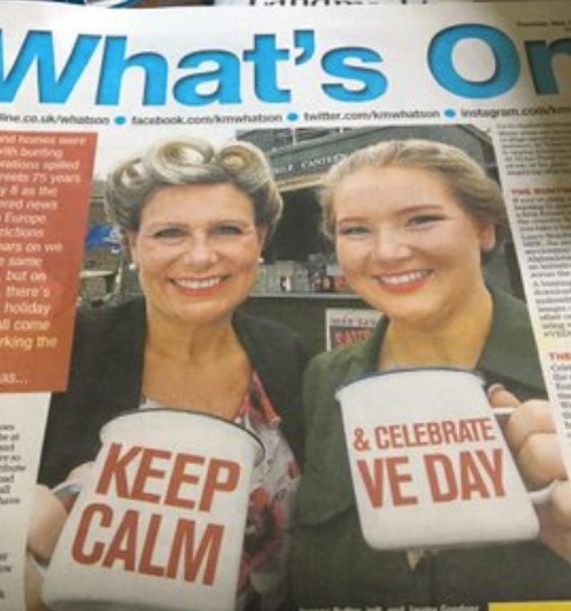 Aus der Lokalzeitung: Keep Calm Celebrate VE Day