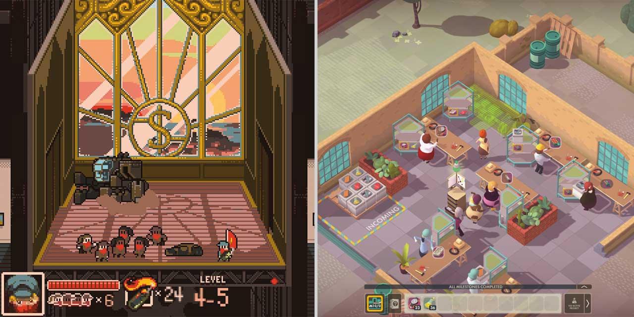 """Screenshots aus den Games """"Good Company"""" und """"Tonight We Riot"""""""