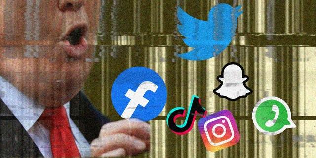 Gesicht von Trump und Logos von verschiedenen sozialen Netzwerken