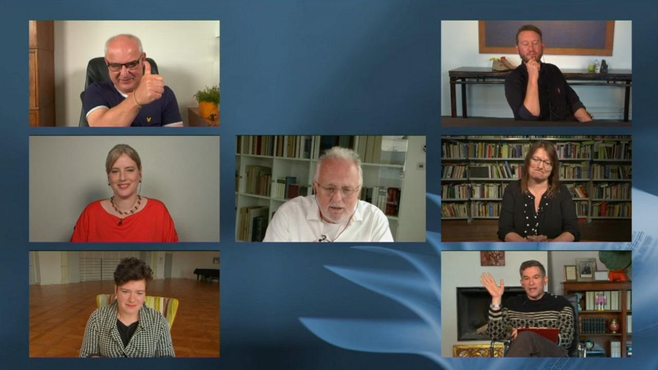 Die Jury des Bachmannpreises. Alle Jurorinnen und Juroren waren bei sich zuhause.
