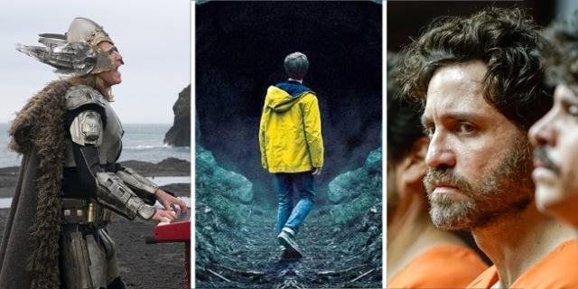 """Filmstill-Collage aus """"Wasp Network"""", """"Eurovision Song Contest: The Story of Fire Saga"""" und """"Dark"""""""