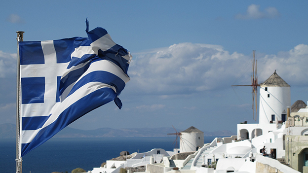 Griechische Flagge Santorin