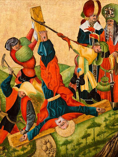 """Meister von Aranyosmarot: """"Martyrium des Apostels Petrus"""", um 1450-1460, Jahresausstellung """"Was leid tut"""" in Stift Klosterneuburg"""